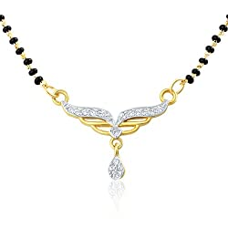 Mahi Eita Collection Gold Pated White Crystal Mangalsutra Pendant for Women- PS1196004G