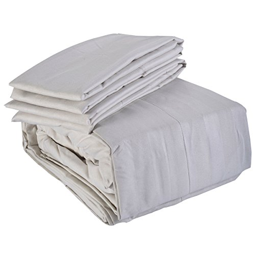 4 Piece Bed Sheet Set Deep Pocket 5 Color California King Size New (Off White) (Marvel Bedding King Sheets compare prices)