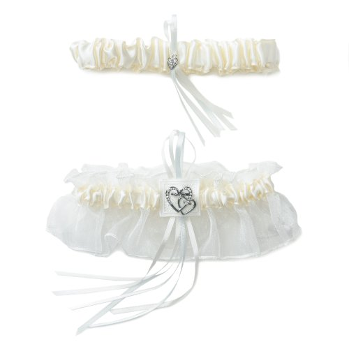 Weddingstar-Classic-Double-Heart-Bridal-Garter-Set-Ivory-2-Piece