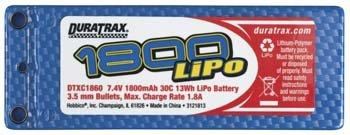 Duratrax LiPo 2S 7.4V 1800mAh 30C 1/16 1/18 Hard Case Mini