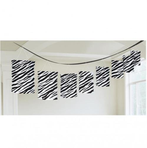 Classic Black and White Zebra Stripes Hanging Paper Lantern Garland Decorations