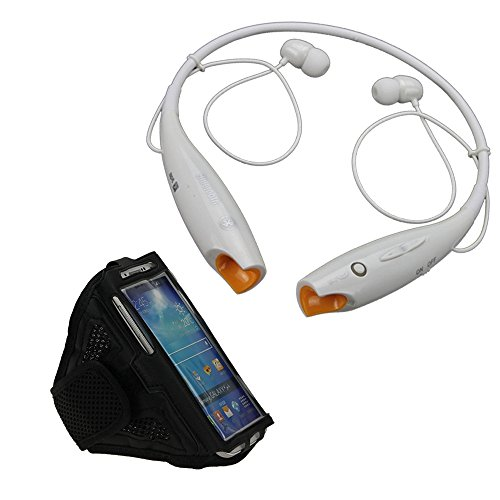 Muchbuy Bluetooth Sport Stereo Music Headset Earphones For Iphone Samsung Moto Lg (White) + Free With Exclusive Outdoor Sports Armband For Smartphone(Black)