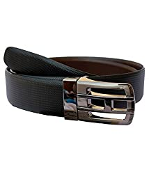 Kesari's Black & Brown Coloured Leather Single Belt For Men
