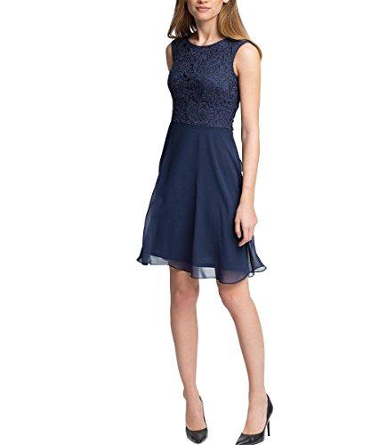 ESPRIT Collection Damen Kleid fließende Chiffon Qualität, Knielang, Gr. 36, Blau (NAVY 400)