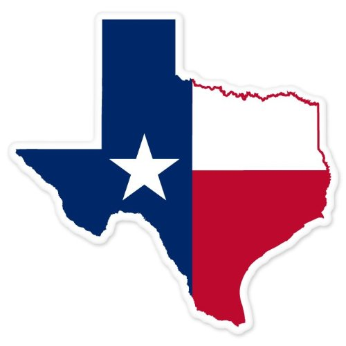 Texas State Map Flag car bumper window sticker 4 x 4