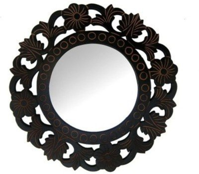 Onlineshoppee Wooden MDF Decorative Hand Carved Wall Mirror