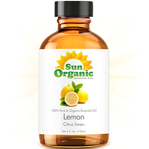 Lemon - Large 4 Ounce - Organic, 100% Pure Essential Oil (Best 4 Fl Oz / 118Ml) - Sun Organic
