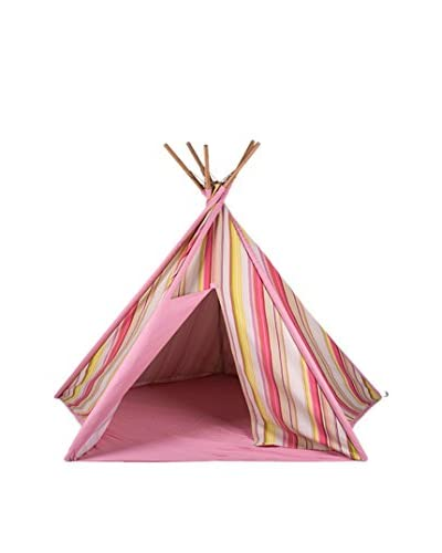 Pacific Play Tents Striped Cotton Canvas Teepee, Pink