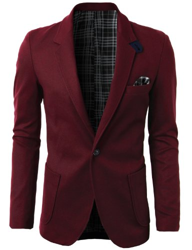 h2h mens fashion slim fit blazer jacket with snap collar