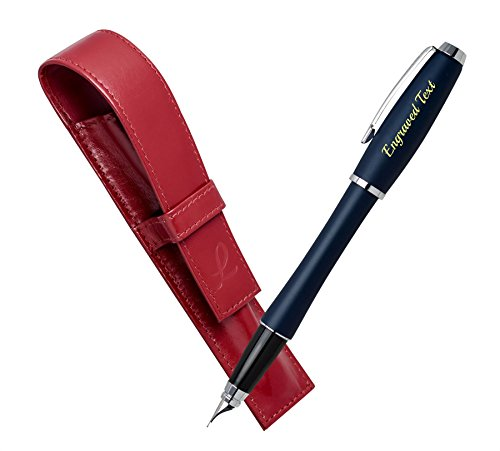 original-gifts-for-women-parker-fountain-pen-urban-night-sky-blue-ct-leather-pouch-red