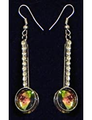 Green With White Stone Studded Dangle Earrings - Stone And Metal