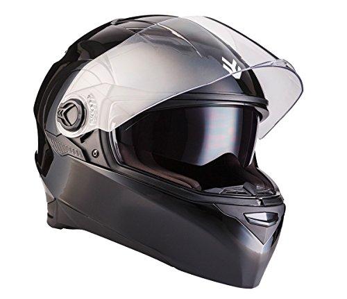 ARROW AF-77 Shiny Black Casco Integrale Moto Sport Scooter Urbano Helmet Cruiser Urban, ECE Certificato, Compresi Parasole, Compresi Sacchetto Portacasco, Nero Lucido, M (57-58 cm)