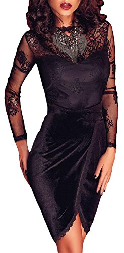 Booty Gal Women's Sexy Lace Long Sleeve Velvet Wrap Cocktail Party Mini Dress (S, Black)