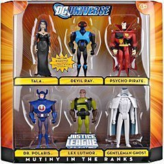DC Universe Justice League Unlimited 6 Pack 4-1/2 Inch Tall Villain Action Figure - MUTINY IN THE RANKS with Tala, Devil Ray, Psycho-Pirate, Dr. Polaris, Lex Luthor and Gentleman Ghost by DC Comics