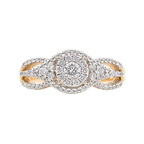 14K Yellow Gold, Round Head Twisted Halo Diamond Engagement Ring