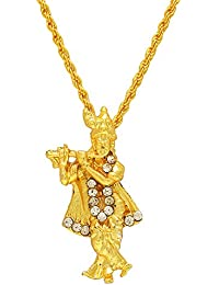 Memoir Gold Plated Lord Krishna Religious God Pendant With Chain, Locket Necklace Temple Jewellery For Men & Women