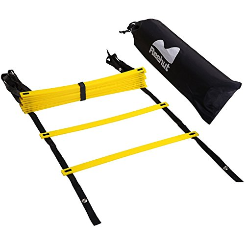 Reehut Durable Agility Ladder W/ Bonus Carry Bag - Speed Training Equipment For High Intensity Footwork - Great for Soccer Workout, Football Drills, Basketball And More (Yellow, 20 Rungs) (Drill Slow Speed compare prices)
