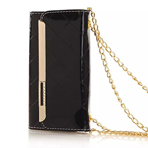 "(Case for Iphone 6/4.7 inch) Bon Venu Smart Leather Flip Case Lady bag purse Elegant Purse Wallet Creadit Card Holder Flip Case Cover Design for Apple iPhone 6 4.7"" case + Shoulder Chain Luxury case wallet+Screen Protector (Black)"