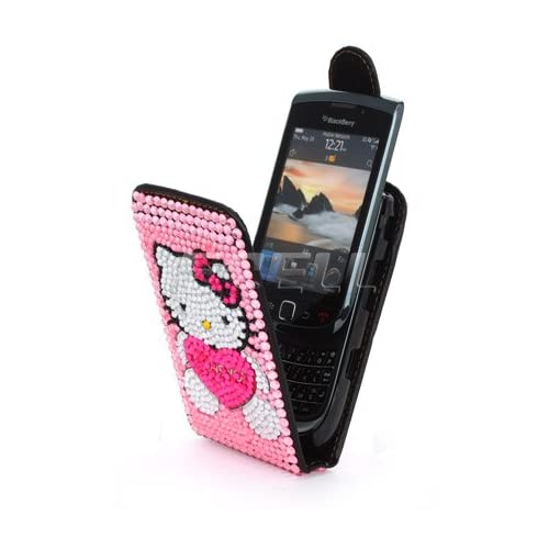 PINK HELLO KITTY LEATHER BLING CASE FOR BLACKBERRY 9800 Electronics