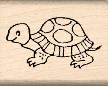 Turtle Rubber Stamp - 1 inch x 1-1/4 inches