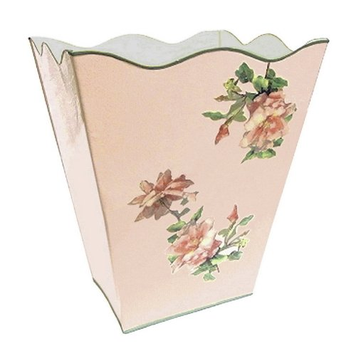 Vintage Pink Roses Wastebasket, Trash Can, Waste Can, Trash Bin ~ E16 Shabby Chic Enamel Trash Can with Romantic Antique Roses