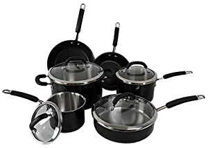 New Rachael Ray 10-Piece Stainless Steel Cookware Set Nonstick Pans Pots Black