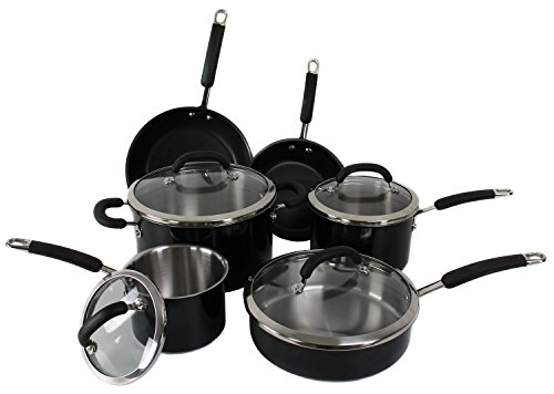 New Rachael Ray 10-Piece Stainless Steel Cookware Set Nonstick Pans Pots Black front-14776