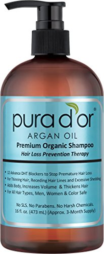 PURA D'OR Hair Loss Prevention Premium Organic Argan Oil Shampoo (Blue Label),  16