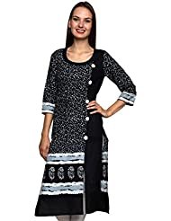 JAIPUR ATTIRE BLACK CASUAL COTTON JAIPUR PRINTED KURTI WITH LONG FULL SLEEVE FOR WOMEN AND GIRLS FOR ETHNIC TRADITIONAL...