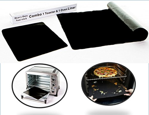 Kiss Dangerous Caked on Dribbles Goodbye! Amazing Oven Liner Bundle - 100% Non-Stick Sturdy Oven Drip Mat, 16 x 23 Spill Mat AND Best in Toaster Oven Accessories - Teflon Toaster Oven Liner (Broiler Pan For Electric Oven compare prices)