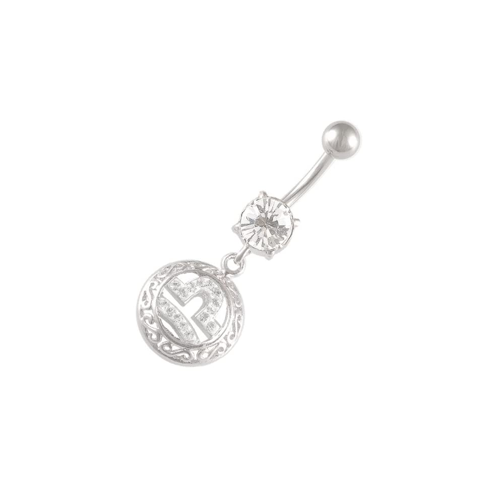 navel bar cute belly rings dangle sexy dangling button Libra zodiac 14G 3/8 Crystal Ferido navel dangly AEAT Piercing CR_296