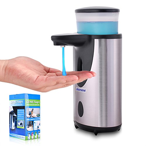 senmi Senior Automatic Soap Dispenser,Fingerprint Resistant Brushed Stainless Detachable which is Convenient for Cleaning and Perfect for Bathroom, Kitchen Countertop -(NEW Waterproof Base!) (Soap Dispenser Electronic compare prices)