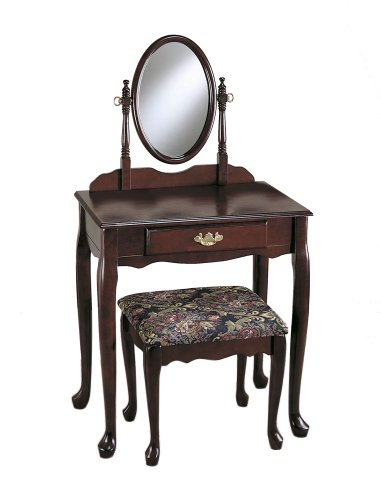 Powell Cherry Vanity/Mirror/Bench Set front-68160