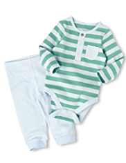 2 Piece Pure Cotton Bodysuit & Joggers Outfit