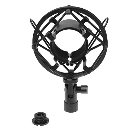 Universal Microphone Shock Mount Holder MIC Noise Reduction Large Diaphragm Condenser Black