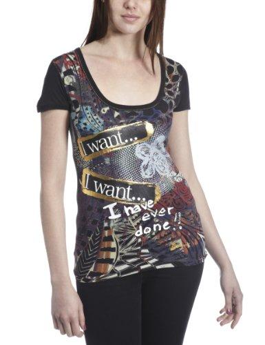 Desigual -  T-shirt - Stampa  - Collo sciallato  - Maniche corte - opaco - Donna nero 40