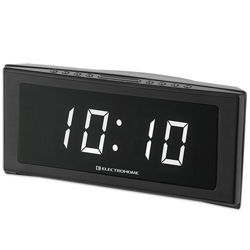 Electrohome 1.8″ Jumbo LED Alarm Clock Radio with Battery Backup, Auto Time Set, Digital AM/FM Tuner, Dual Alarm, Indoor Temperature & 4 Dimming Options (EAAC302W)