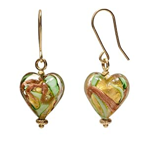 14K Yellow Gold Green Murano Glass Heart Earrings