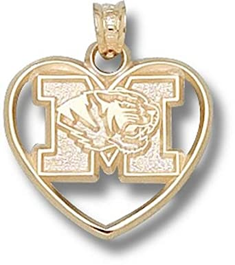 Missouri Tigers New M with Tiger Head Heart Pendant - 14KT Gold Jewelry by Logo Art