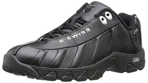 K-Swiss Mens ST329 Black/Silver Sneakers Shoes (8.5)