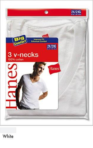 Hanes 3-Pack Big V-Neck T-Shirt 777X 3XL/White