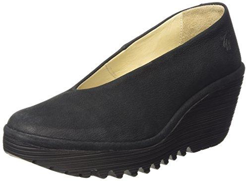 Fly London Yaz, Zapatos de Tacón Para Mujer, Negro (Black 179), 39...