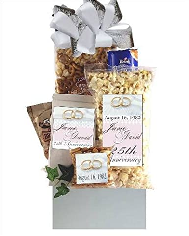 Gift Basket For 25th Wedding Anniversary : 25th Wedding Anniversary Personalized Gift Basket Wedding ...