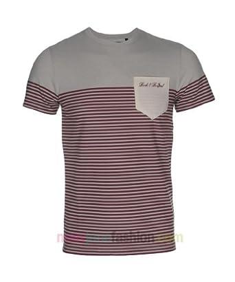 Mens Horizontal Striped Nautical Printed T-Shirt Top S M L XL Navy Burgundy