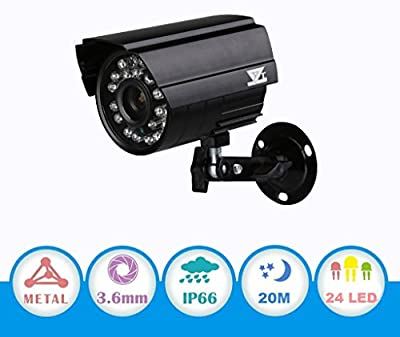 "JZTEK 1/3"" HD 960P/1.3MP 1200TVL AHD Bullet Camera with IR-Cut Night Vision 20m 3.6mm fixed lens 24LEDs Indoor/Outdoor Video home Security System IP66 waterproof Metal Housing only work with AHD DVR"