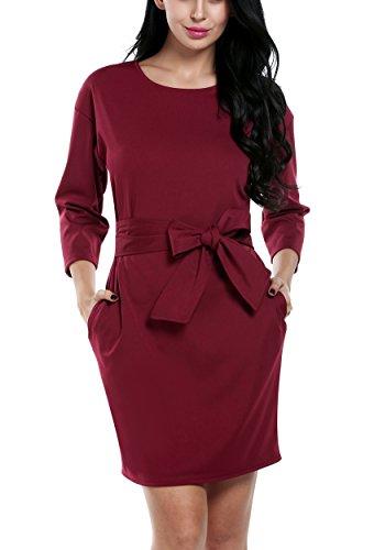 ACEVOG Women O-neck 3/4 SleevesTwo Side Pocket Black Dresses (Large, Dark red)