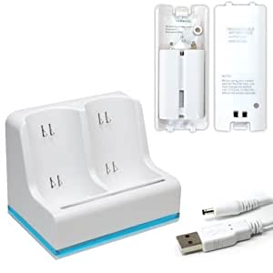 Invero Blanc Dual Double Station Chargeur + 2 batteries compatible avec Nintendo Wii (MotionPlus or Non Motion)