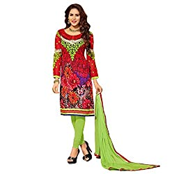 Krizel Flora Red Women's Georgette Printed Straight Unstitched Salwar Suit