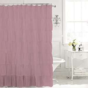 Lavender 96 Long Gypsy Shabby Chic Ruffled Fabric Shower Curtain Kitchen Home