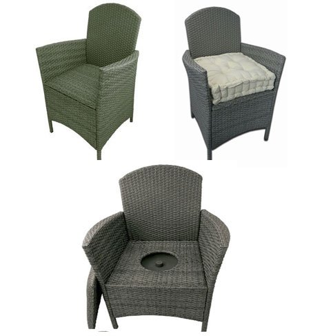 Wicker Armchair Commode (943) Discreet, attractive, commode chair.